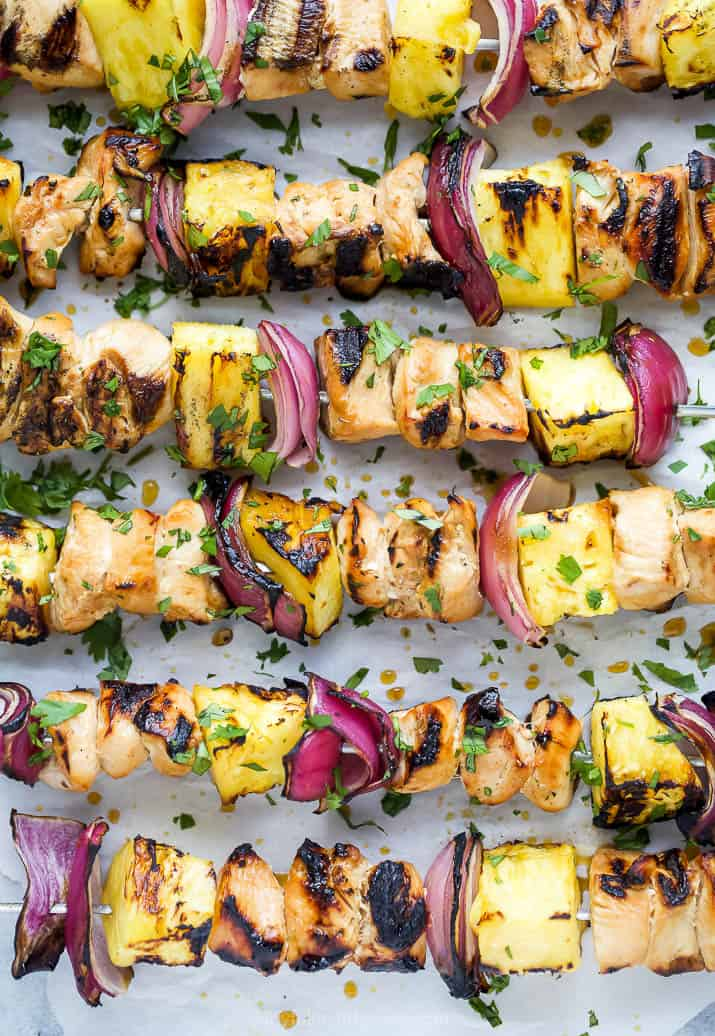 overhead photo of the perfect grilled pineapple chicken kabobs