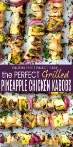 pinterest image for the perfect grilled pineapple chicken kabobs