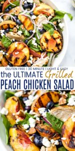 pinterest image for grilled peach chicken salad
