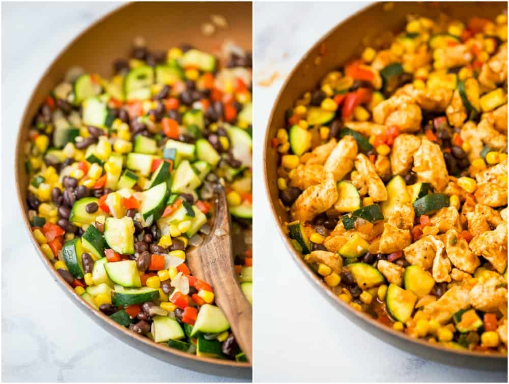 process photos of how to make a 30 minute zucchini chicken enchilada skillet