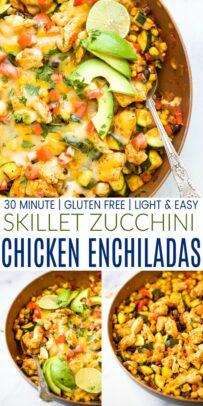 pinterest image for 30 minute zucchini chicken enchilada skillet
