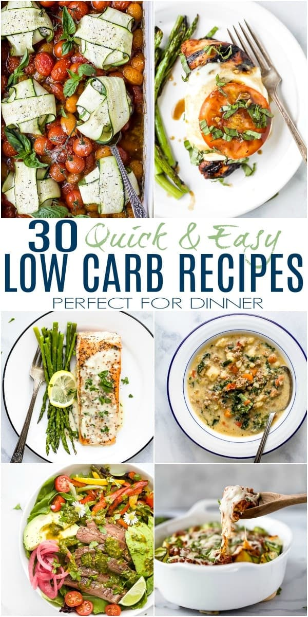 pinterest image for 30 quick and easy low carb recipes for dinner