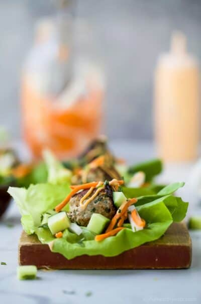 bahn mi lettuce wraps on a cutting board