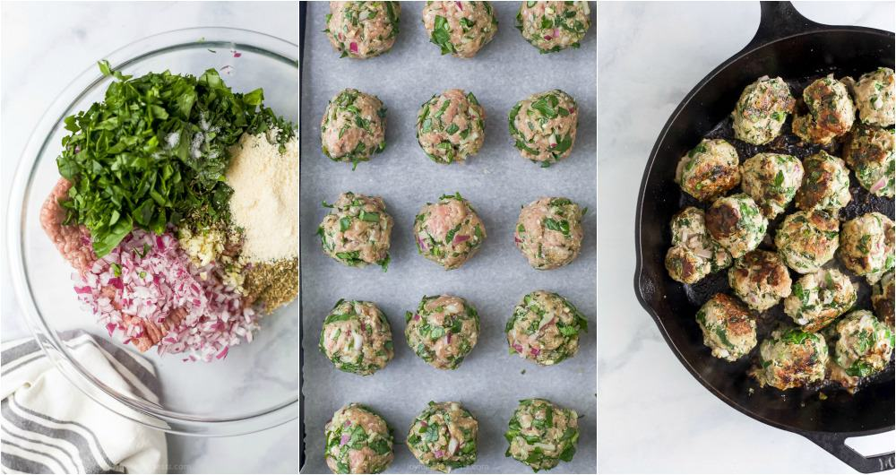 process photos of cheesy keto turkey meatballs