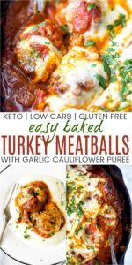 pinterest image for cheesy keto turkey meatballs with cauliflower puree