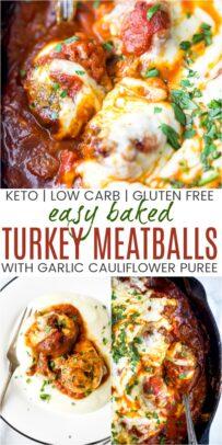 pinterest image for cheesy keto turkey meatballs with cauliflower puree