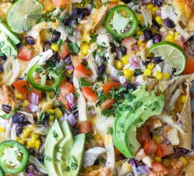 overhead photo of easy 20 minute sheet pan chicken nachos
