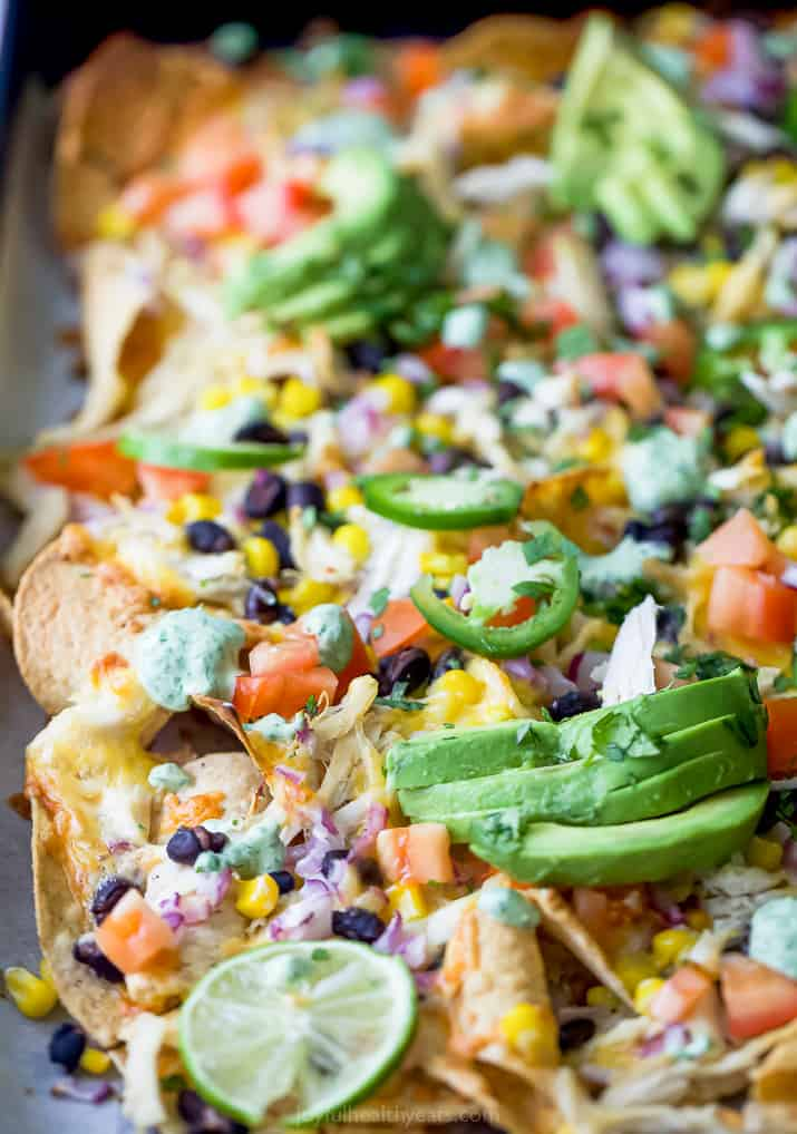 side photo of easy 20 minute sheet pan chicken nachos