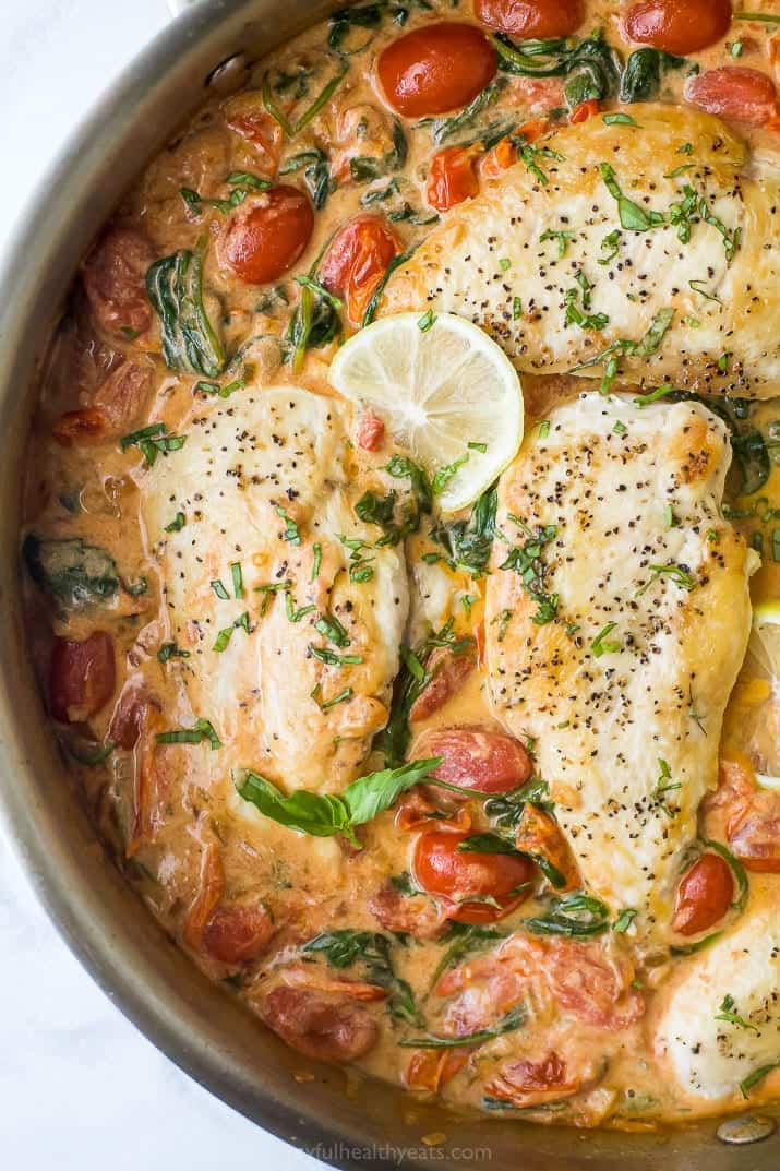 overhead photo of 30 minute creamy tuscan chicken