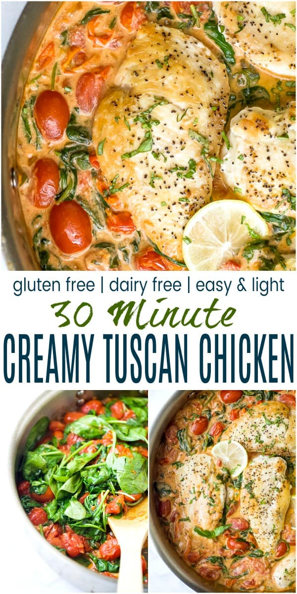 pinterest image for easy 30 minute creamy tuscan chicken