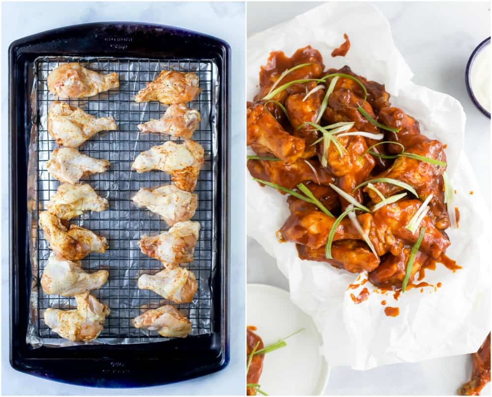 process photos of how to make baked sweet and spicy bbq chicken wings