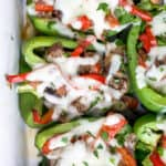 easy keto philly cheesesteak stuffed peppers in a baking dish