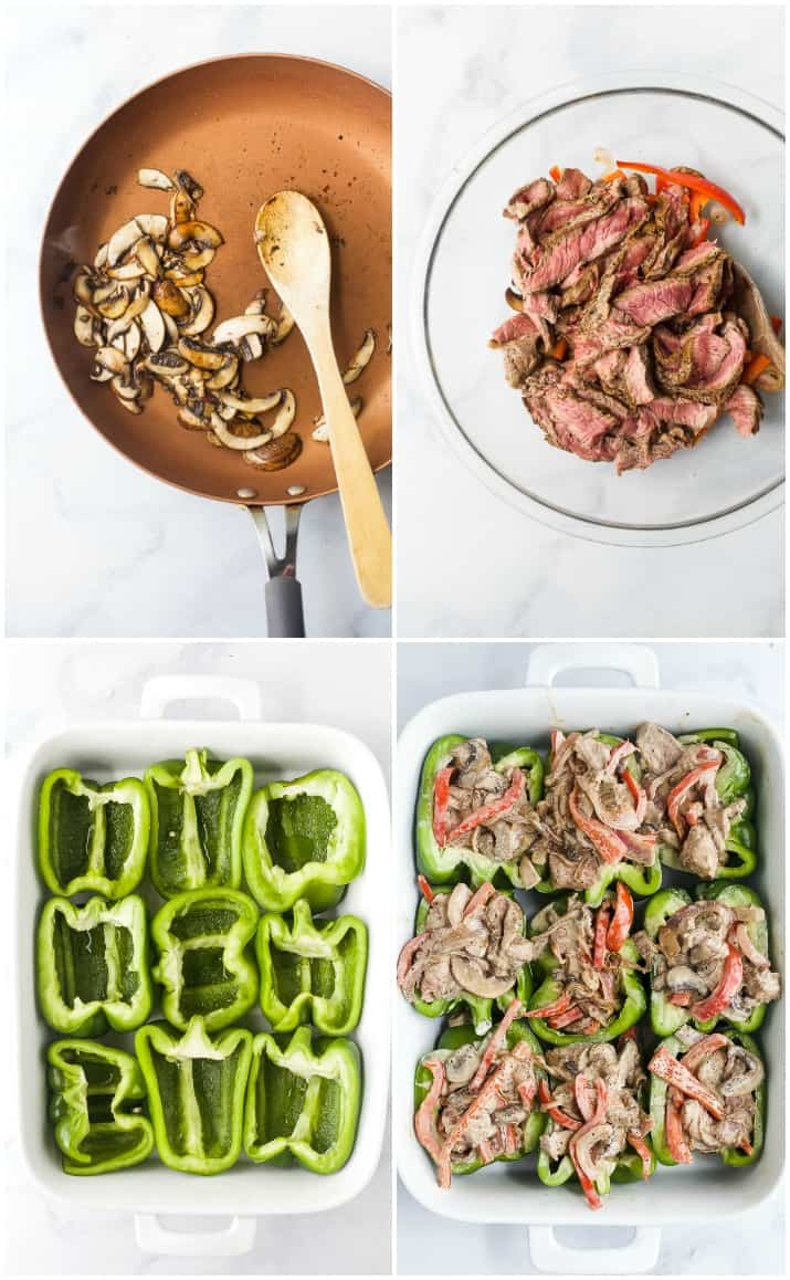process photos of how to make easy keto philly cheesesteak stuffed peppers