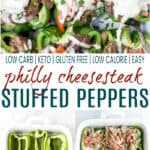 pinterest image for easy keto philly cheesesteak stuffed peppers