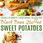 pinterest image for easy vegan black bean stuffed sweet potatoes