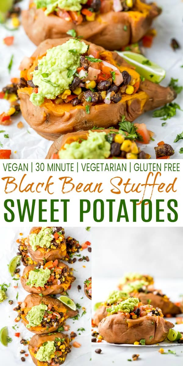 pinterest image for easy vegan black bean stuffed sweet potatoes