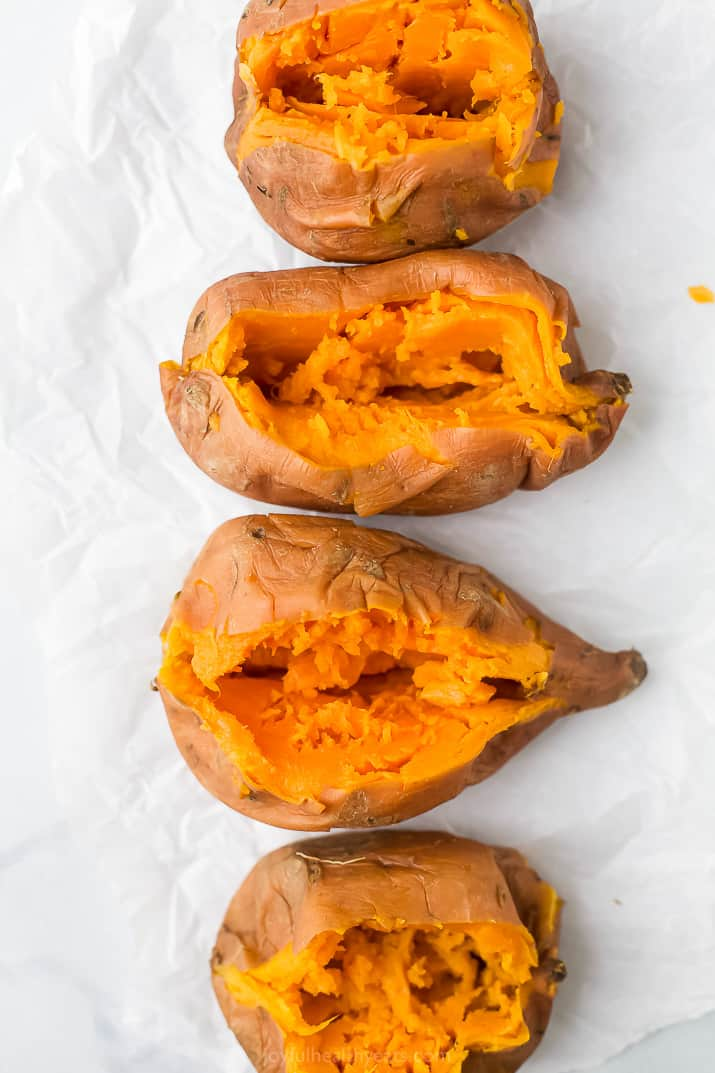 closeup overhead photo of sweet potatoes cooked in the instant pot