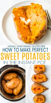 pinterest image for how to make instant pot sweet potatoes