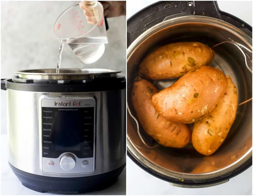 process photos of how to make instant pot sweet potatoes