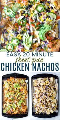 pinterest image for easy 20 minute sheet pan chicken nachos