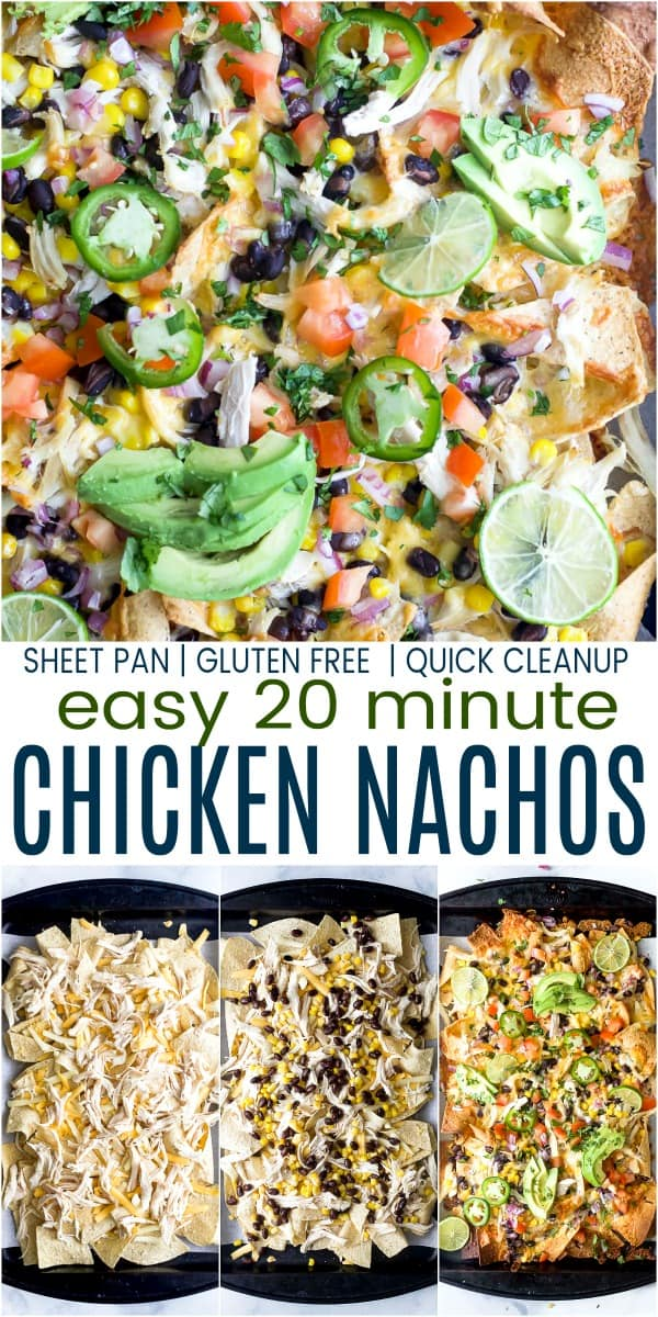 pinterest image for easy 20 minute sheet pan chicken nachos