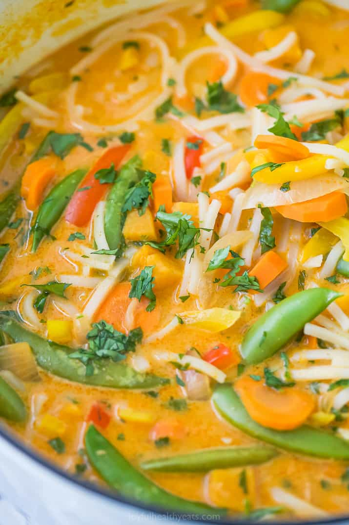 close up photo of easy 30 minute vegetable thai noodle soup