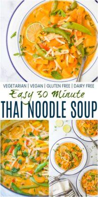 pinterest image for easy 30 minute vegetable thai noodle soup