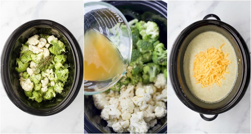 process photos of how to make easy crockpot broccoli cheese soup
