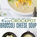 pinterest image for easy crockpot broccoli cheese soup
