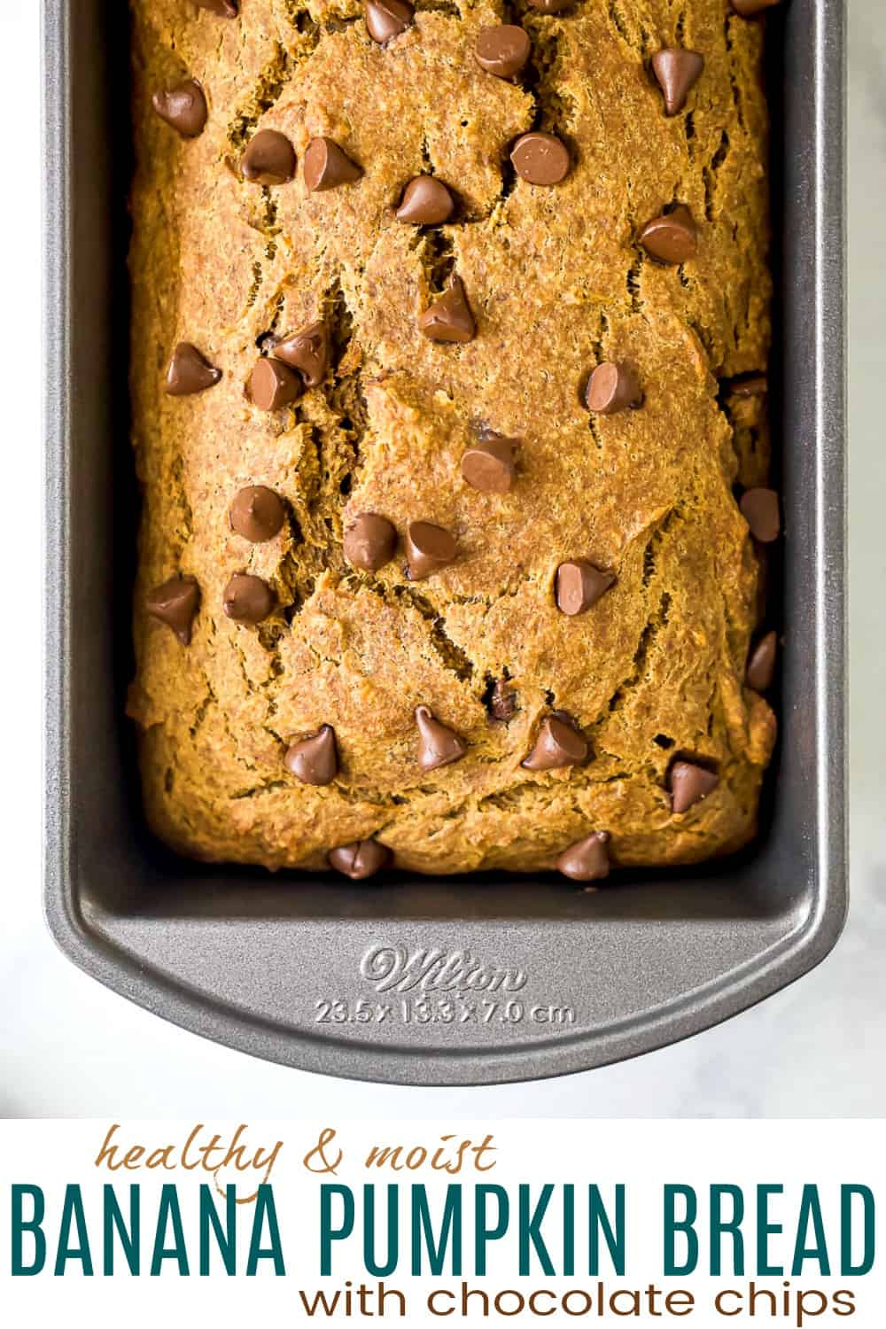 pinterest photo for healthy banana pumpkin bread with chocolate chips