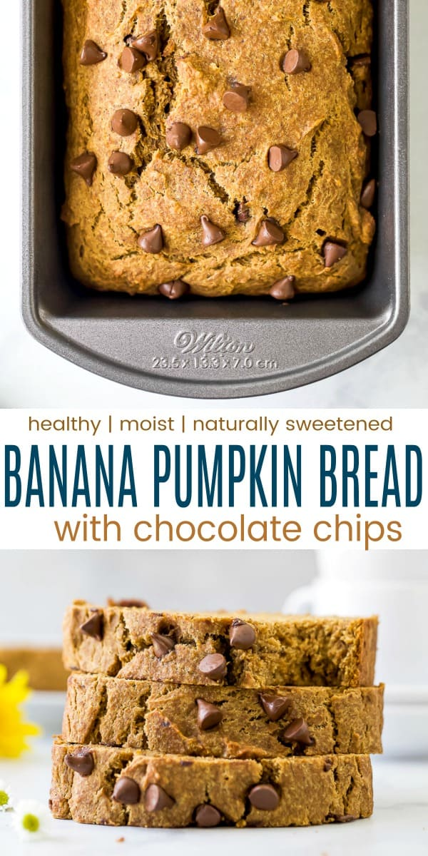 pinterest photo of healthy banana pumpkin bread with chocolate chips
