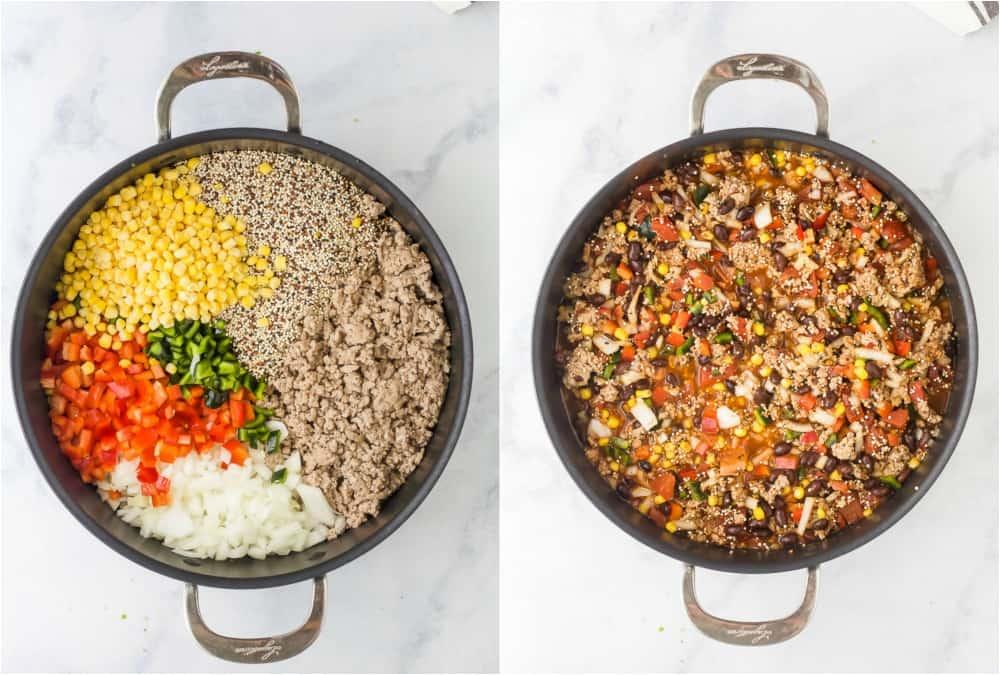 process photos of how to make a quinoa taco skillet