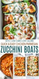 pinterest image for the best easy chicken parmesan zucchini boats