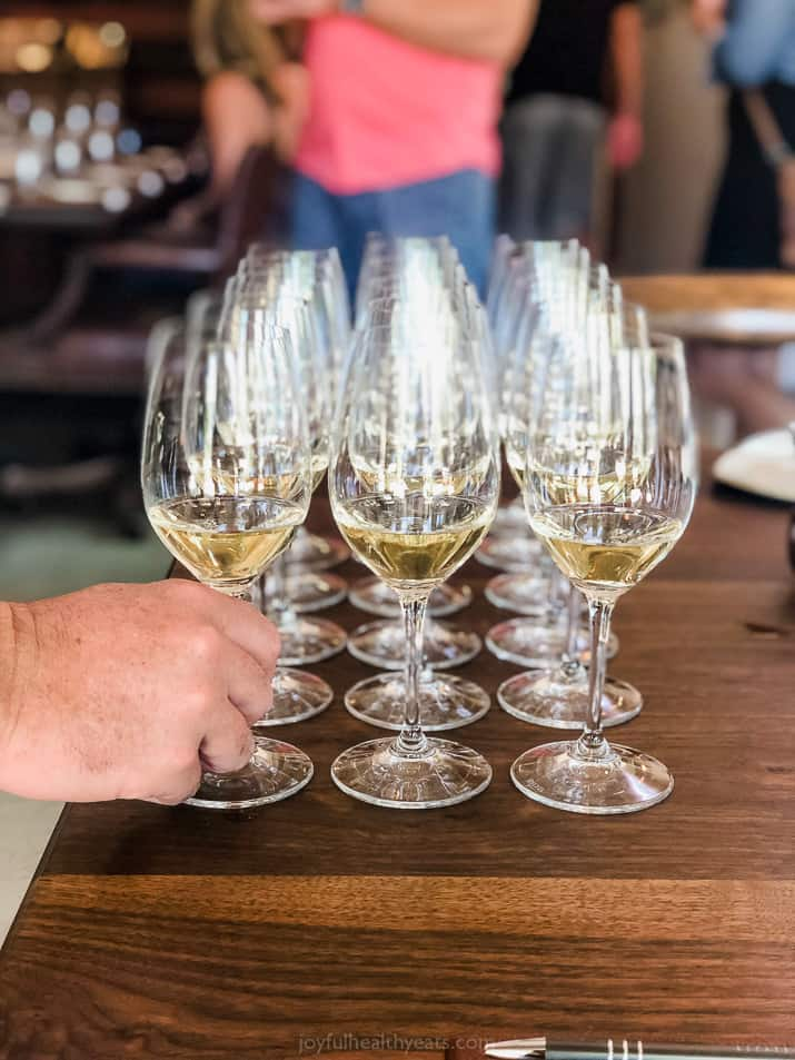 white wine tastings lined up in napa valley california