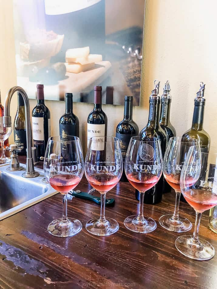 wine tasting at kunde winery in sonoma county california