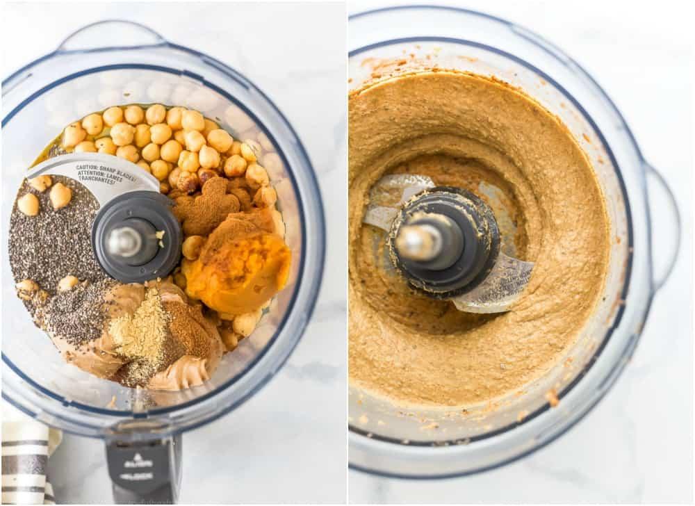 vegan chocolate chip pumpkin cookie dough in a food processor