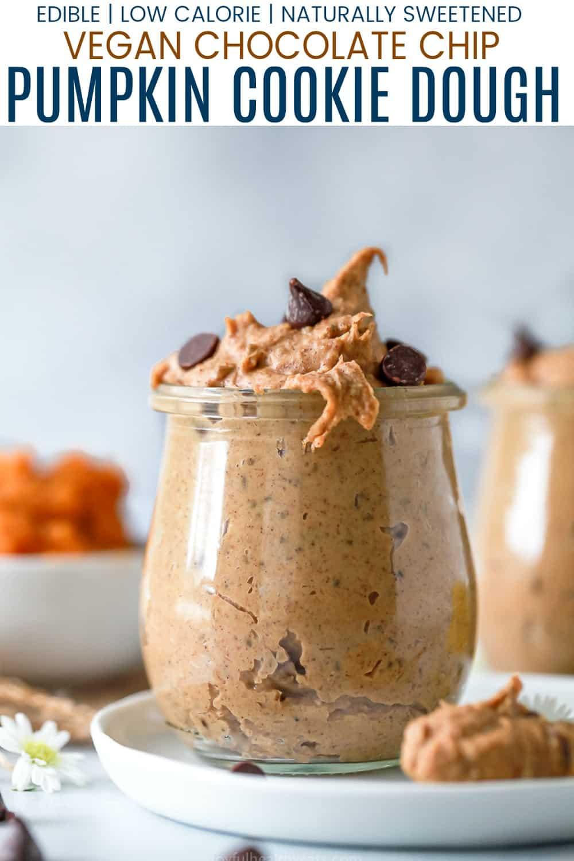 pinterest image vegan chocolate chip pumpkin cookie dough