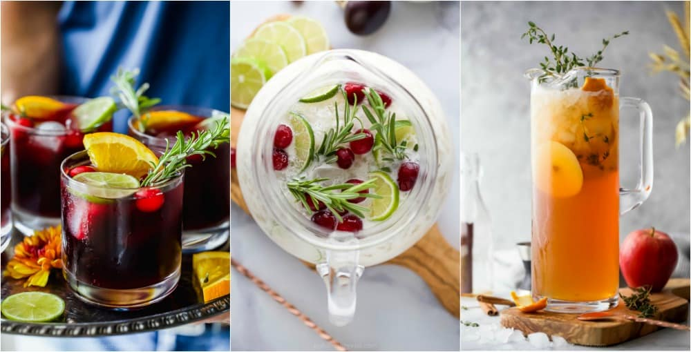 a collage of pitcher cocktails for the holidays