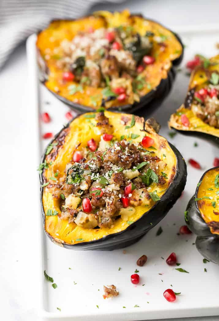side photo of apple sausage stuffed acorn squash