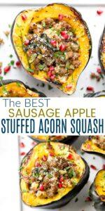 pinterest image for apple sausage stuffed acorn squash