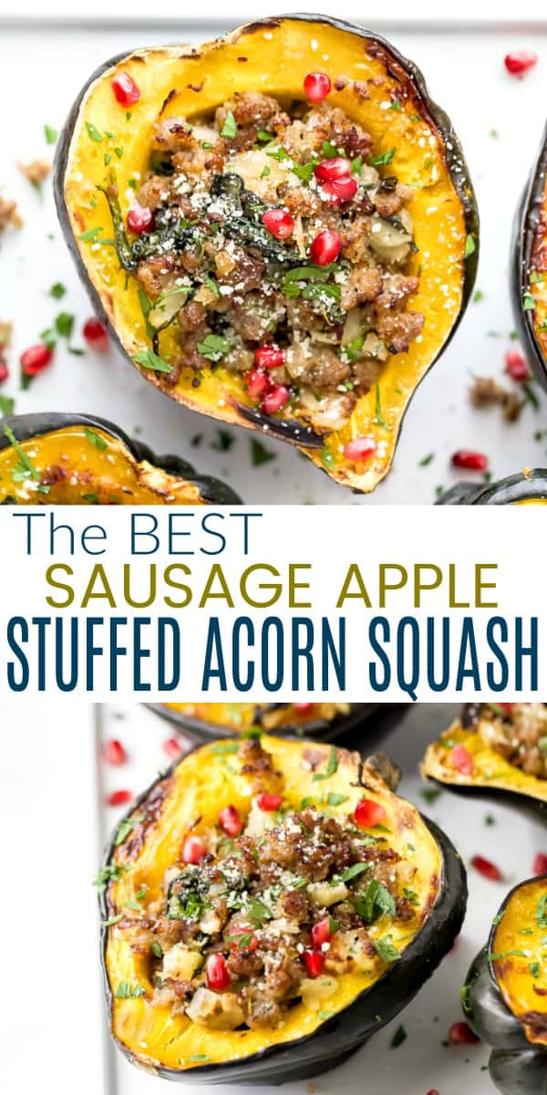 pinterest image for apple sausage stuffed acorn squash
