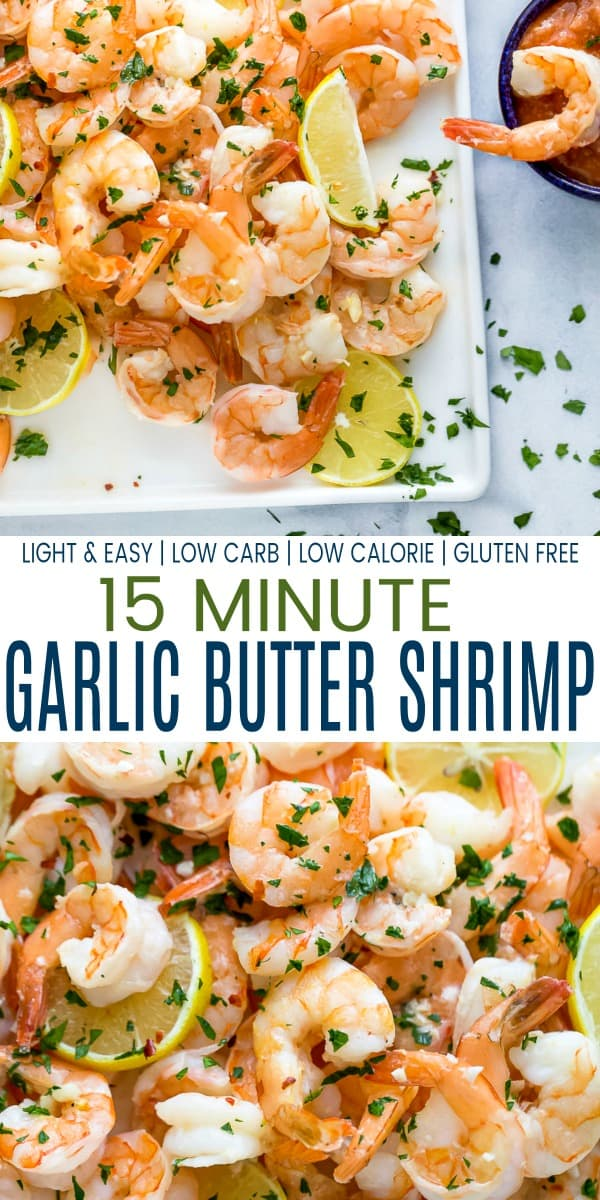 pinterest image for baked lemon garlic butter shrimp