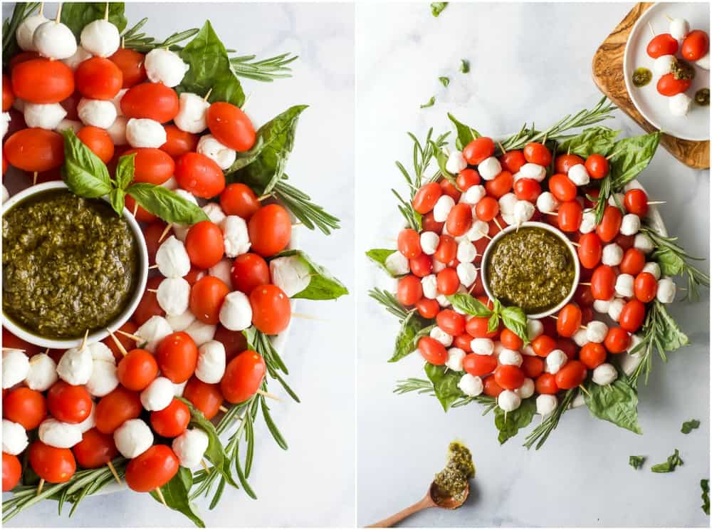 how to make a caprese skewer wreath with pesto