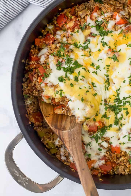 one pot quinoa stuffed pepper recipe in a pot