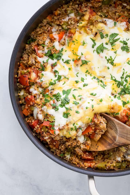 overhead photo of easy one pot quinoa stuffed pepper recipe