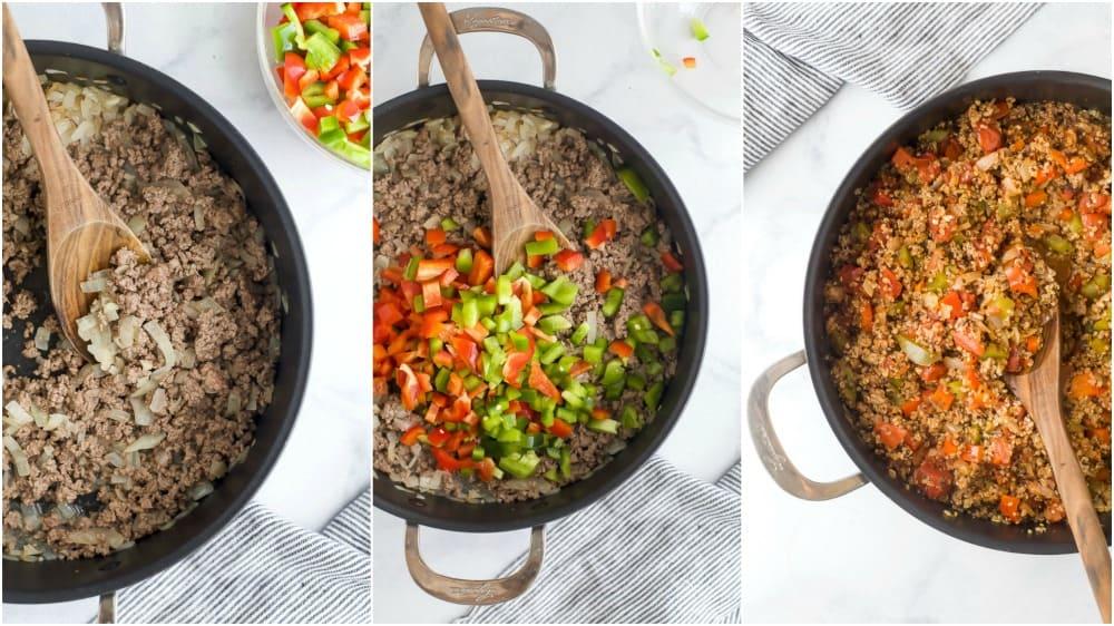 process photos of how to make quinoa stuffed pepper casserole