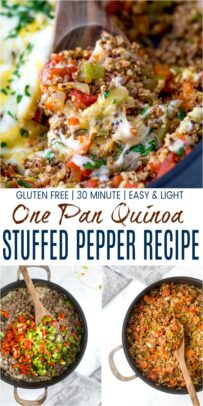 pinterst image for easy one pot quinoa stuffed pepper recipe