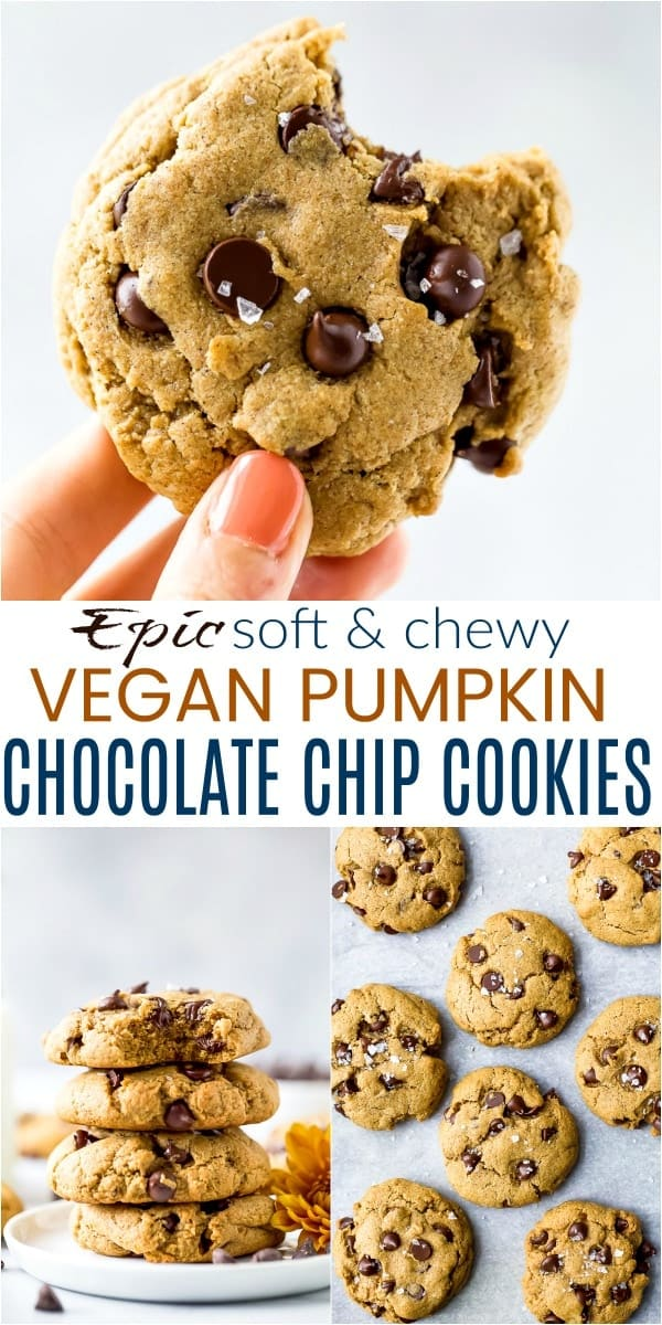 pinterest image for epic vegan pumpkin chocolate chip cookies