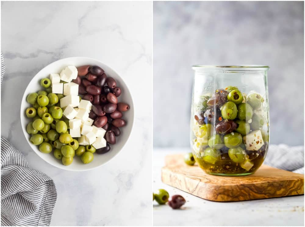 how to make easy garlic marinated olives and feta cheese
