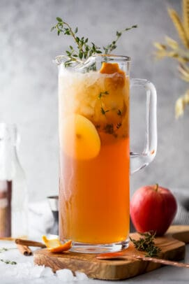 harvest apple bourbon cocktail in a pitcher